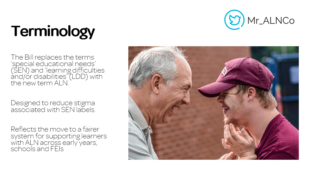 Terminlogy the Act is deisgned to change. Picture of an older man and a younger man laughing.